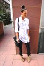 White-h-m-shirt-brown-asos-boots-black-topshop-leggings