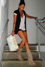 Beige-zara-boots-black-topshop-shorts-black-gestuz-blazer-white-h-m-access