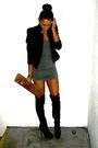 Black-topshop-boots-green-primark-dress-black-topshop-jacket-brown-vivienn