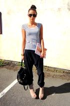 black Topshop pants - white H&M t-shirt - beige Zara boots - black Topshop acces