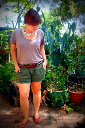 white handmade vintage necklace - olive green Aerie shorts