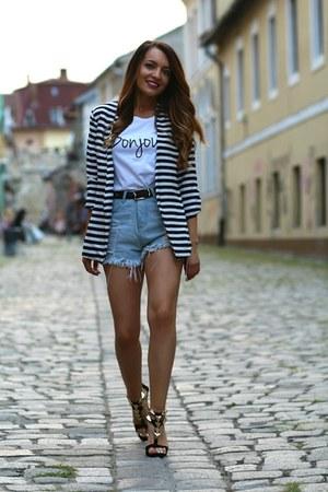 Mart of China blazer - choiescom shorts - maisonfro t-shirt - choiescom sandals