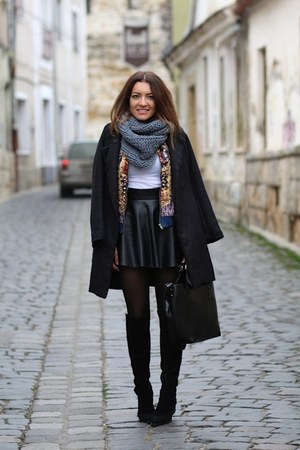 romwe skirt - choiescom boots - Romwecom coat - Sheinsidecom jacket