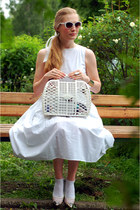 white Centro sunglasses - asos dress - avoska vintage bag - asos heels