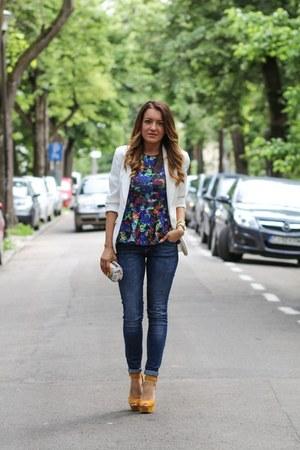 H&M top - Zara jeans - Topshop blazer - Zara sandals