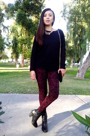crimson velvet LOB leggings - black Forever 21 boots