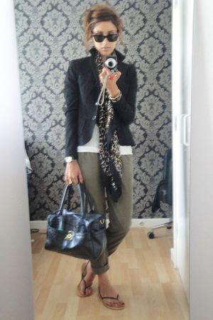 green H&M pants - black Zara blazer - black Ray Ban glasses - black Kurt Geiger