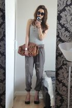 green River Island pants - silver Zara vest - brown Topshop purse - brown Bershk