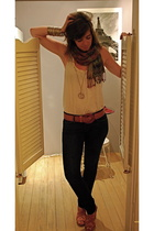 Anthropologie belt - seychelles shoes - Anthropologie scarf - JCrew top