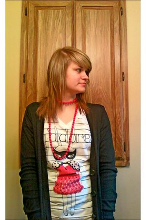 white Delias shirt - red Claires necklace - black Wet Seal jacket