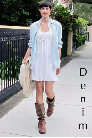 denim Libertine shirt - Tommy Hilfiger boots - cotton Zara dress - Bershka vest