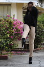 Black-promise-boots-black-forever-21-purse-tan-rainbow-pants