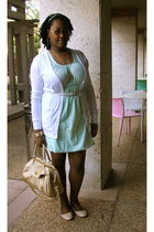 white Wet Seal cardigan - green Walmart dress - beige Urbanogcom shoes - gold Ol