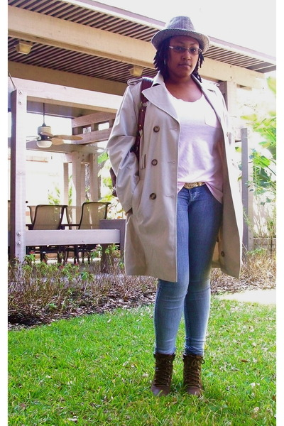 beige Croft&Barrow coat - pink Old Navy t-shirt - blue Wet Seal jeans - brown th