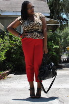 red high waisted Goodwill pants - black cotton on bag - black GoJane sandals