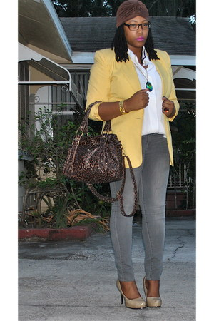 light yellow thrifted blazer - heather gray Charlotte Russe jeans