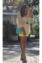 beige Ebay blouse - beige cotton on boots - turquoise blue Chanel purse