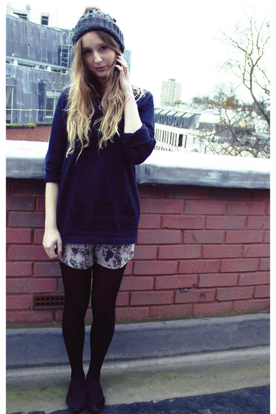 heather gray Dorothy Perkins hat - black M&S tights - periwinkle Topshop shorts