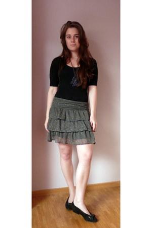 green Springfield skirt - black Topshop bodysuit - black vintage Kaiser flats -