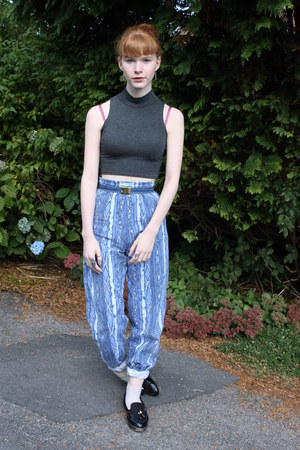 Ebay top - vintage belt - vintage pants - River Island belt