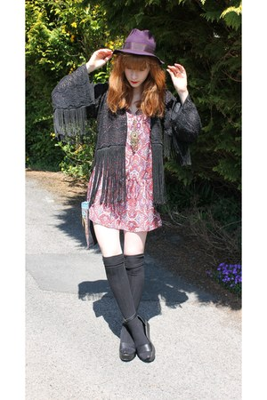 ruby red H&M dress - deep purple Topshop hat - black Thriftette jacket