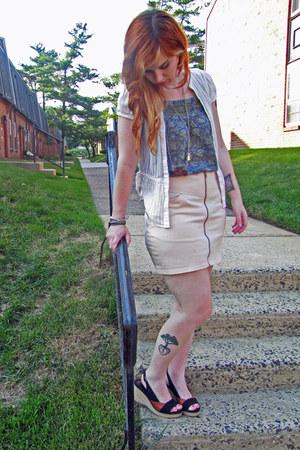 light pink H&M skirt - teal patterned kohls top - white found cardigan