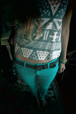 turquoise blue denim Jay Jays jeans - white tribal motif from bangkok top