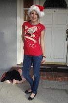 red santa lol vintage shirt - navy skinny hollister jeans - red santa hat