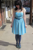 blue modcloth dress - green ModCLoth via GC shoes - blue Forever 21 belt