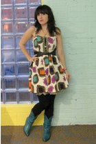 white kensie dress - black modcloth tights - green vintage boots