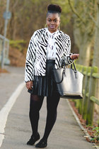 H&M jacket - black tote Zara bag - faux leather warehouse skirt