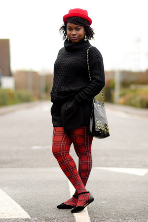 tartan Primark tights - red hat new look hat - black asos romper