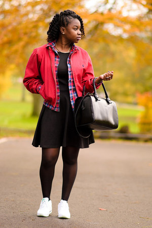 white nike sneakers - Primark dress - red bomber Ralph Lauren jacket