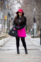 black ankle le chateau boots - hot pink vintage Anthropologie hat