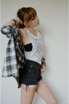 top - dadshirt shirt - Levis shorts - spiked hairband Etsy accessories