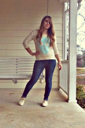 cream with blue skull Marshalls sweater - blue Marshalls jeans