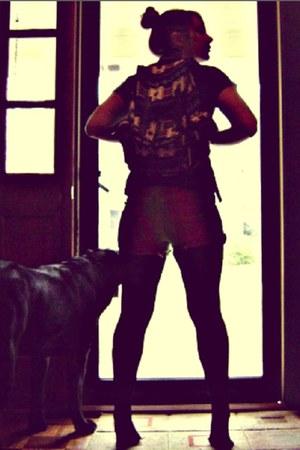 gifted tights - aztec bookbag Target bag - DIY shorts