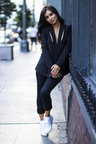 black blazer funktional blazer - black vince pants - white Superga sneakers