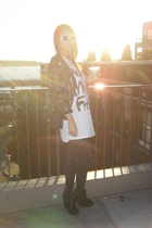 Zara jacket - Urban Outfitters t-shirt - Target stockings - sam eldelman shoes -