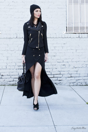 Nasty Gal dress - lindsay beanie Eugenia Kim hat - Alexander Wang bag