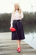 red bag - white shirt - black skirt - red heels - gold watch - gold earrings
