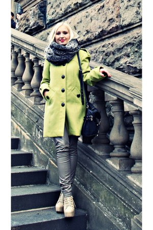 chartreuse Primark coat - cream Allegropl shoes - black River Island bag