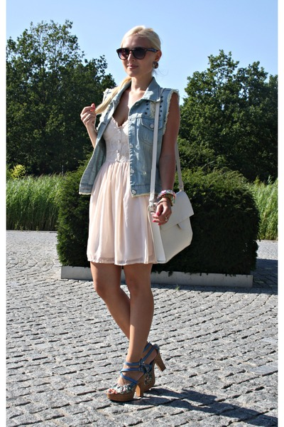 peach H&M dress - light blue vest