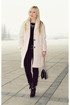 black boots - light pink coat - black sweater - black bag - black pants