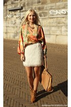 white H&M skirt - nude Fossil bag - light orange blouse