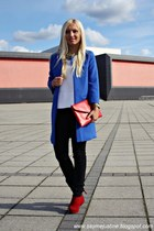 blue coat - red Primark shoes - camel Guess watch - white Zara blouse