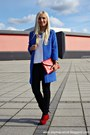 Red-primark-shoes-blue-coat-camel-guess-watch-white-zara-blouse