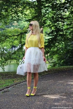 yellow shoes - white Furla bag - black sunglasses - yellow blouse