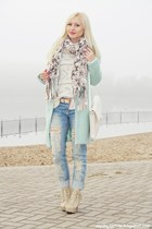 cream shoes - aquamarine coat - sky blue jeans - cream sweater - ivory Zara bag