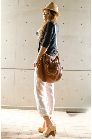 mustard straw hat no brand hat - black Zara vest - light pink Topshop pants